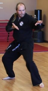 "Sensei Russell Newquist performs the kata ""Bassai."""